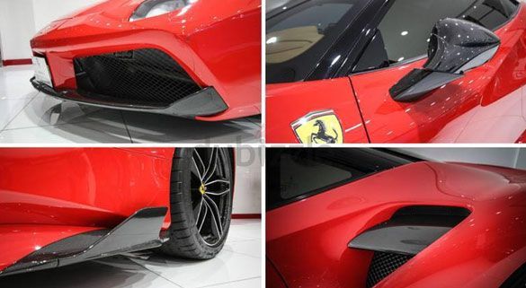 Ferrari 488 wearing carbon side inlets, front splitter, wing mirror (folded back) and air intake blade