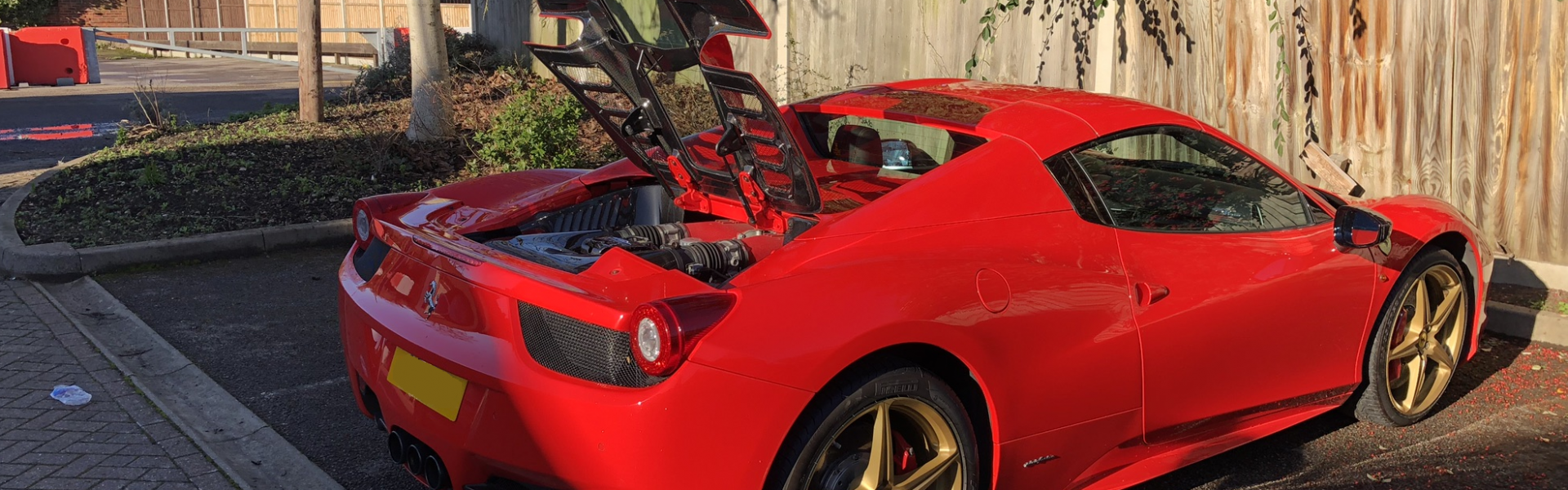 Ferrari 458 Spider Upgrades; Capristo Carbon Fibre Glass Engine Cover & Engine Bay Carbon