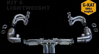 Sport Exhaust System Kit 6 Lightweight for the Porsche 911 997 GT3 from Cargraphic 1