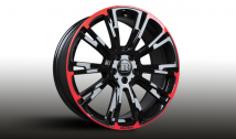 Monoblock R 'RED / BLACK' five-double spoke design special edition black glossy with red decorative elements
